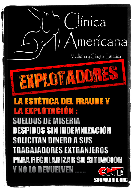 Plakat zum Arbeitskampf bei Clinica Americana (CNT-IAA Madrid 2017)